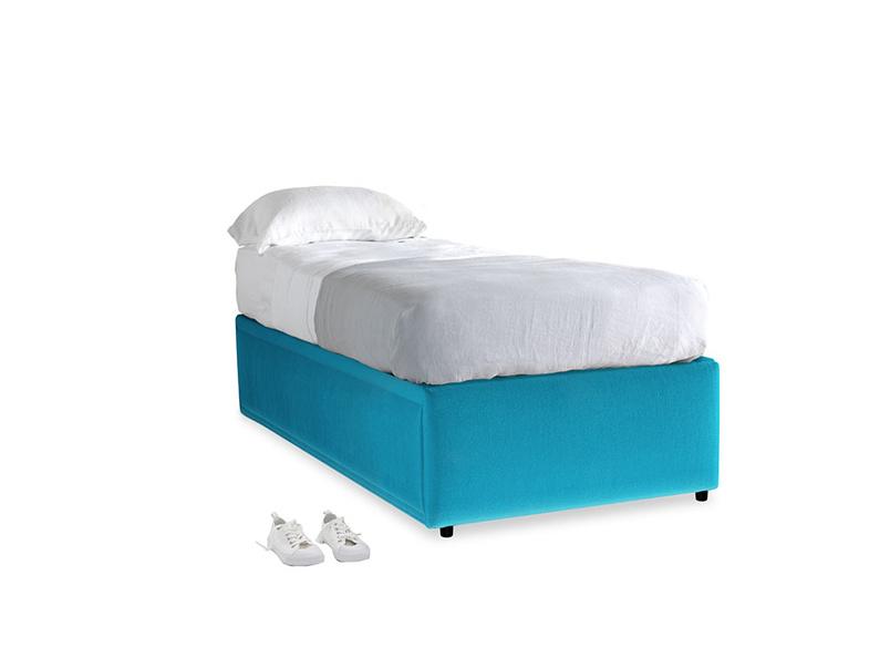 Single Friends Trundle Bed in Azure plush velvet