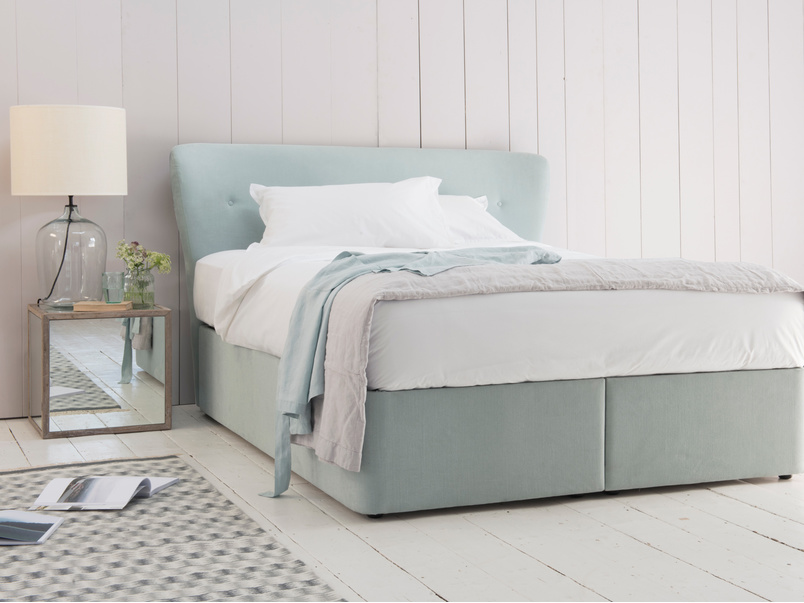 Contemporary storage divan bed with retro Smoke headboard