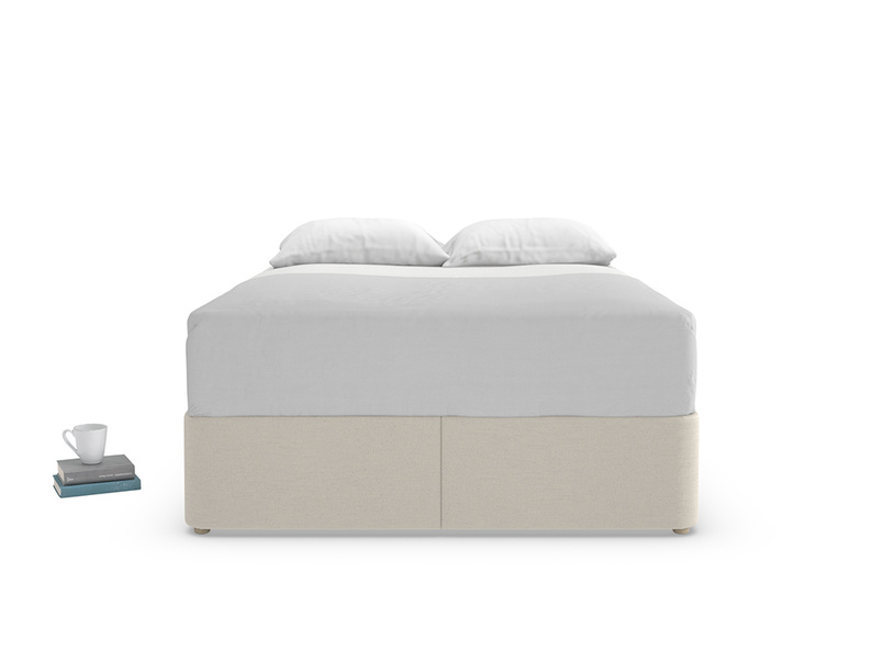 Storage divan Store bed is upholstered and handmade in England