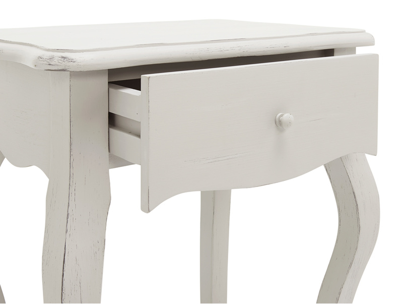 Mimi Scuffed Grey bedside table elegant curved legs and handy drawer for storage