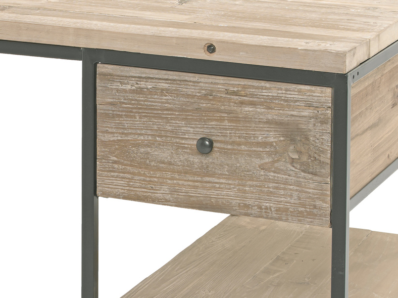 Den home office industrial wooden study and writing desk