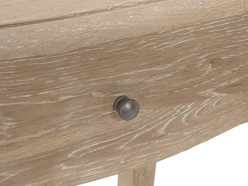 Mimi bedside table has lovely vintage bronze knob on a handy storage drawer, made from weathered oak