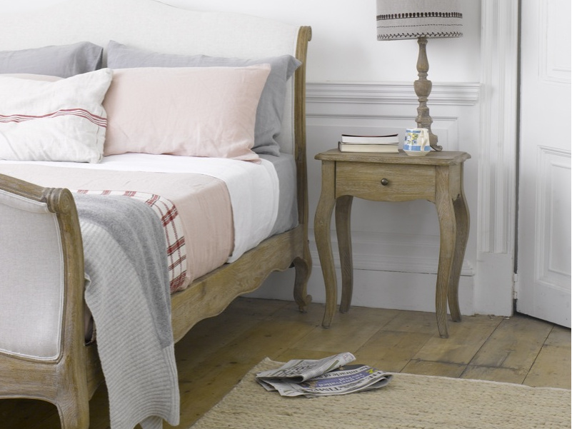 Curved leg French inspired wooden Mimi bedside table styled with Antoinette bed