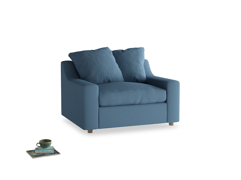 Cloud love seat sofa bed in Easy blue clever linen