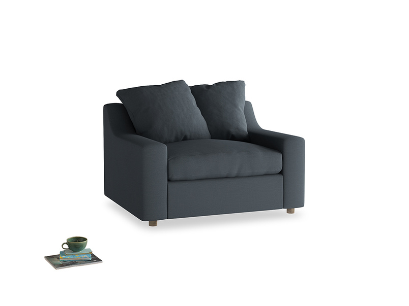 Cloud love seat sofa bed in Lava grey clever linen