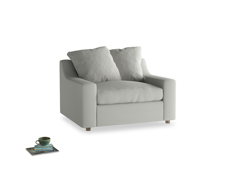 Cloud love seat sofa bed in Mineral grey clever linen