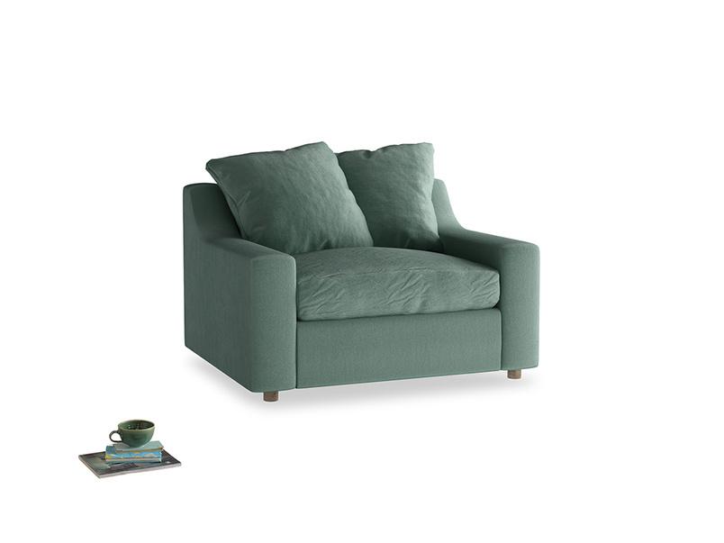 Cloud love seat sofa bed in Sea blue vintage velvet
