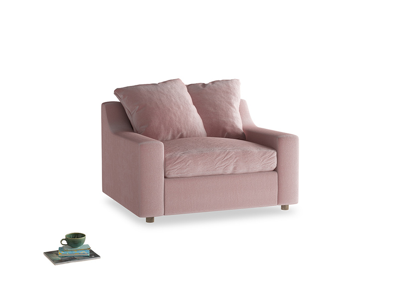 Cloud love seat sofa bed in Chalky Pink vintage velvet