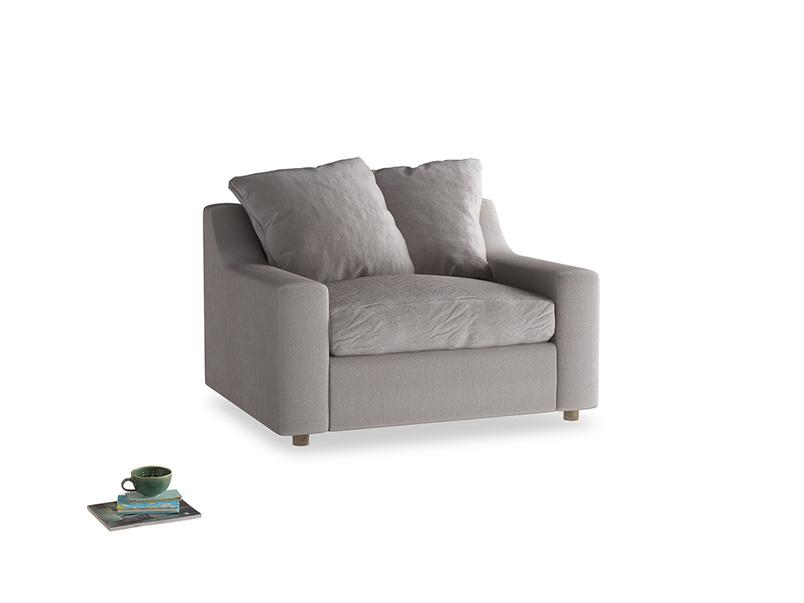 Cloud love seat sofa bed in Soothing grey vintage velvet
