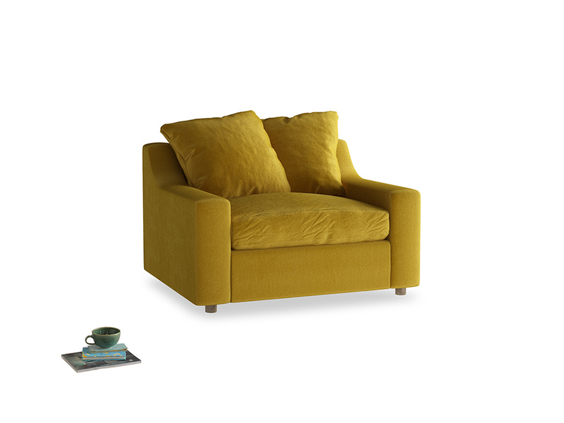 Cloud love seat sofa bed in Burnt yellow vintage velvet