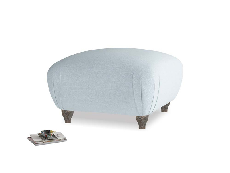 Small Square Homebody Footstool in Soothing blue washed cotton linen