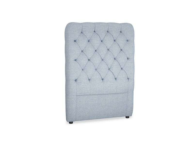 Single Tall Billow Headboard in Frost clever woolly fabric