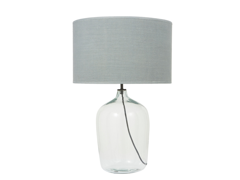 Gorgeous Flagon glass bedside table lamp with glass blown base