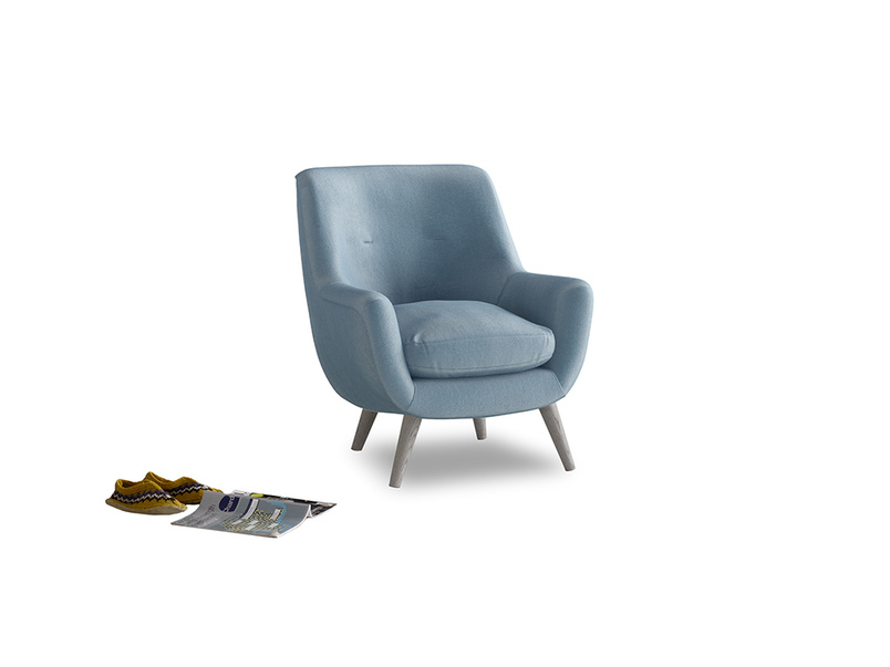 Berlin Armchair in Chalky blue vintage velvet