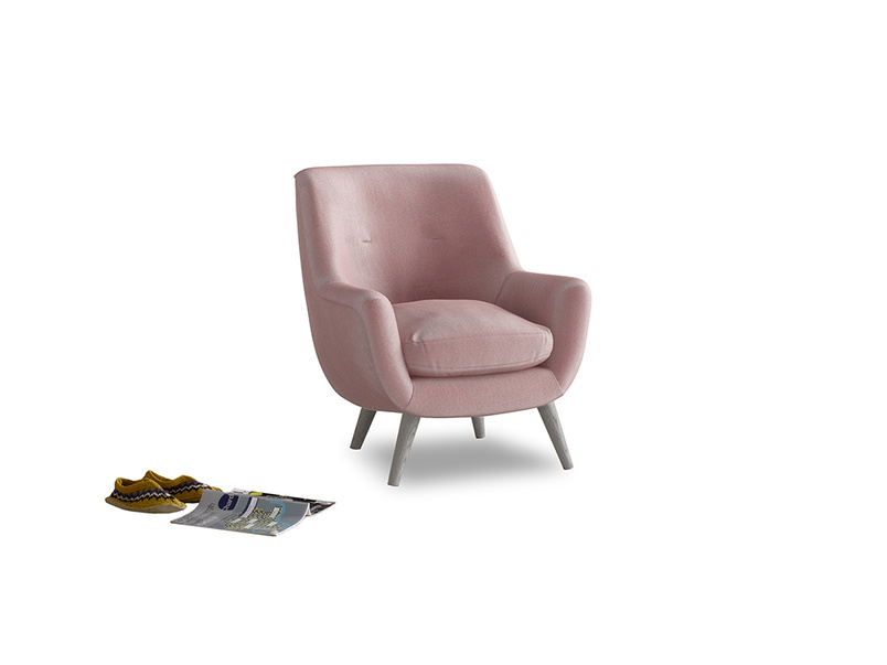 Berlin Armchair in Chalky Pink vintage velvet