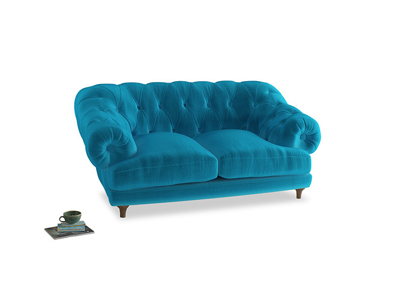 Small Bagsie Sofa in Azure plush velvet