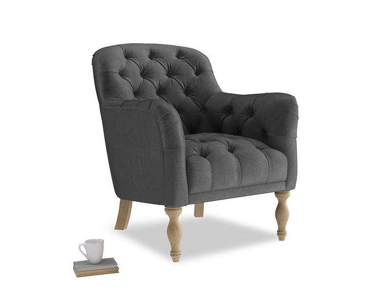 Reader Armchair in Scuttle grey vintage velvet
