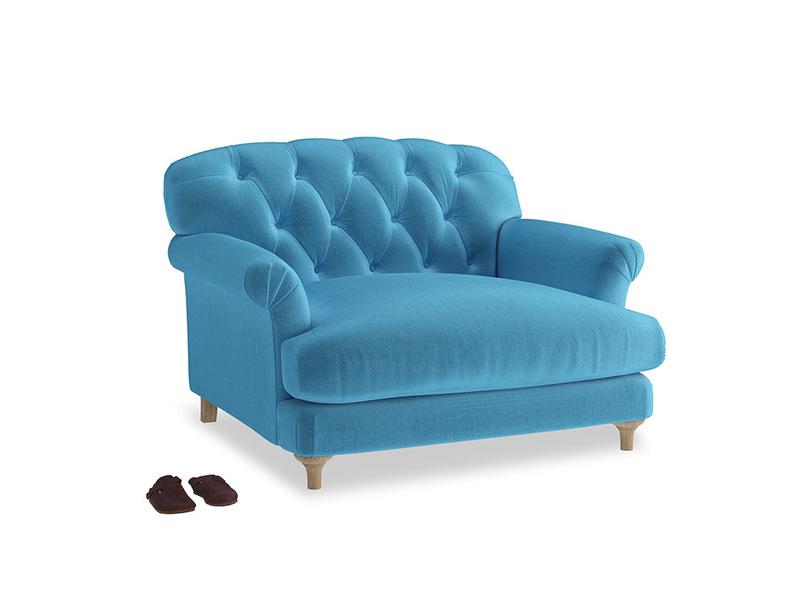 Truffle Love seat in Teal Blue plush velvet