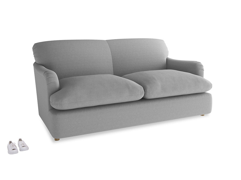 Medium Pudding Sofa Bed in Magnesium washed cotton linen