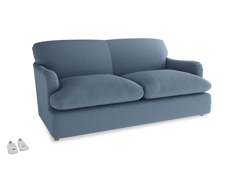 Medium Pudding Sofa Bed in Nordic blue brushed cotton