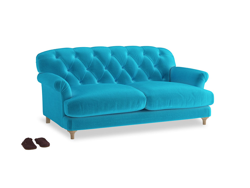 Medium Truffle Sofa in Azure plush velvet
