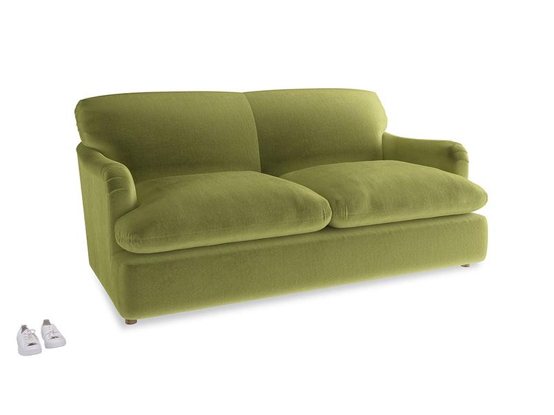 Medium Pudding Sofa Bed in Olive plush velvet