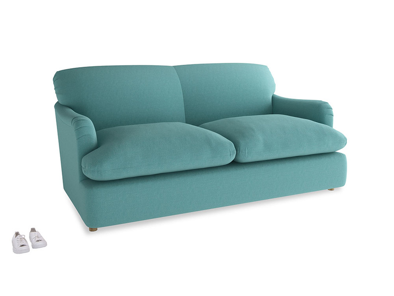 Medium Pudding Sofa Bed in Peacock brushed cotton
