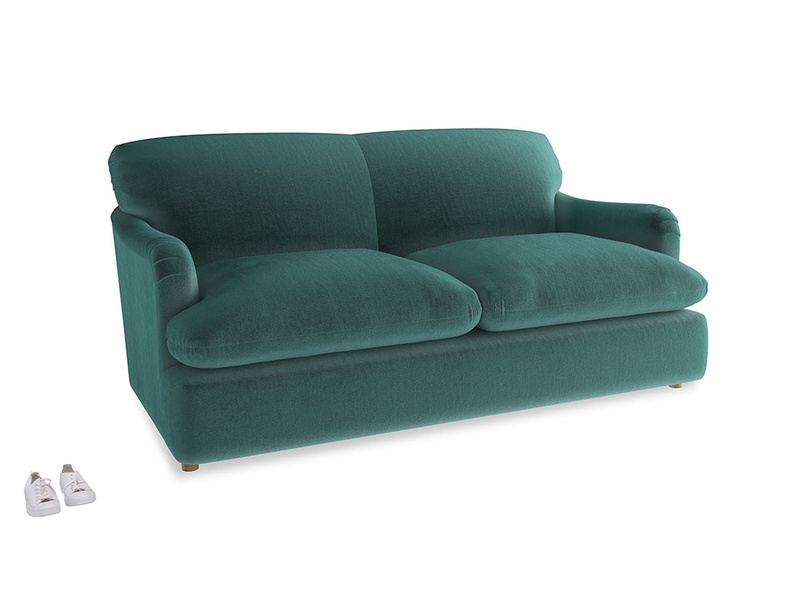 Medium Pudding Sofa Bed in Real Teal clever velvet