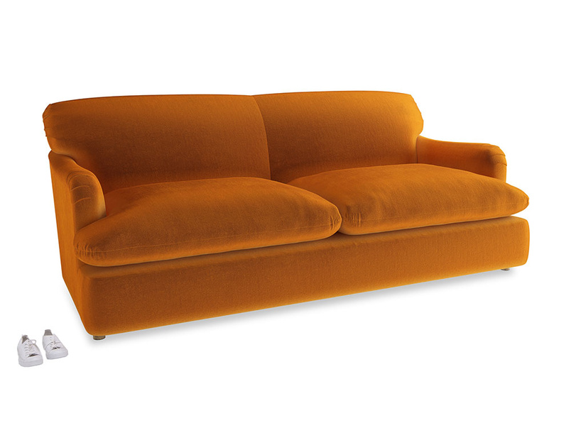 Large Pudding Sofa Bed in Spiced Orange clever velvet