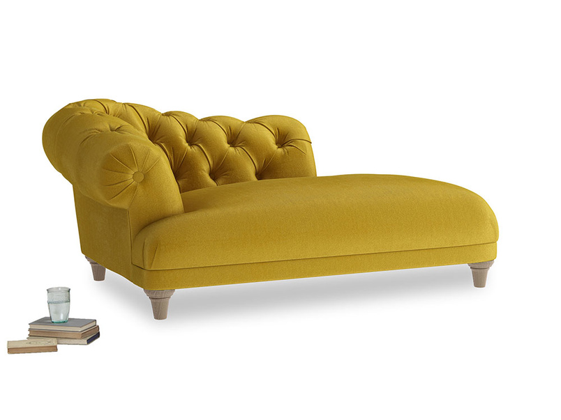 Left Hand Fats Chaise Longue in Burnt yellow vintage velvet
