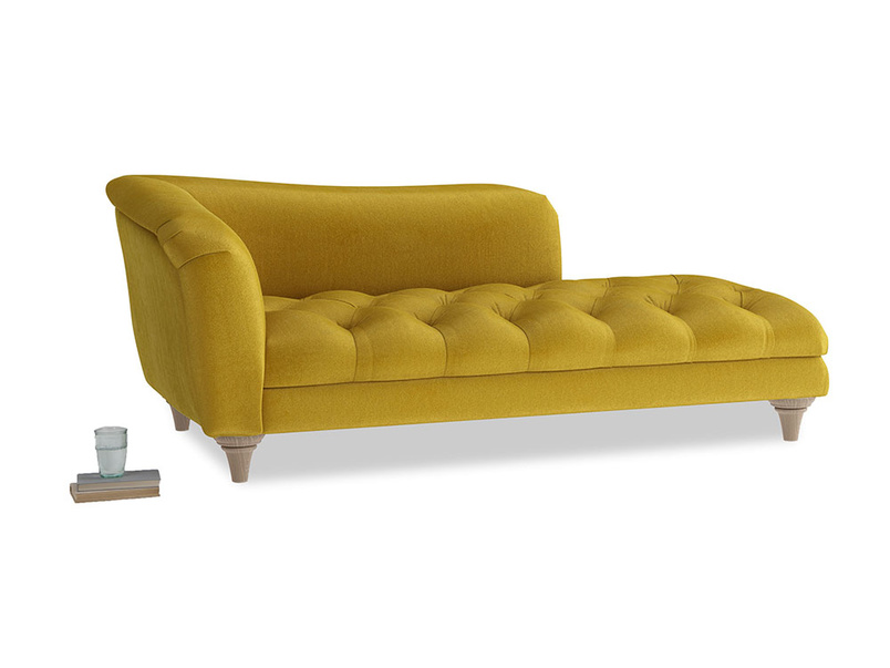 Left Hand Slumber Jack Chaise Longue in Burnt yellow vintage velvet