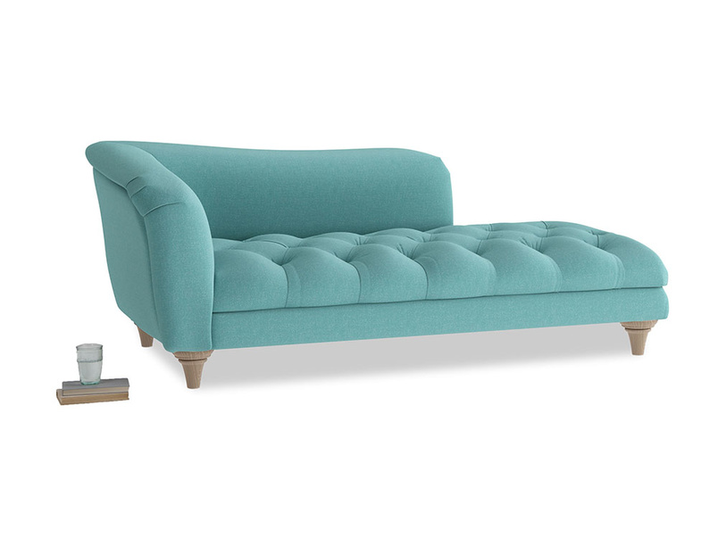 Left Hand Slumber Jack Chaise Longue in Peacock brushed cotton