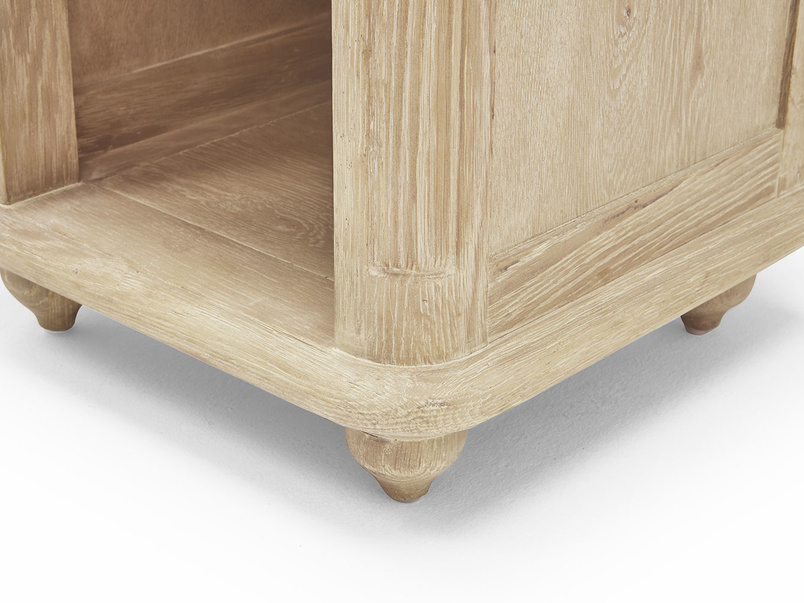 Amity bedside table in bleached oak and french style