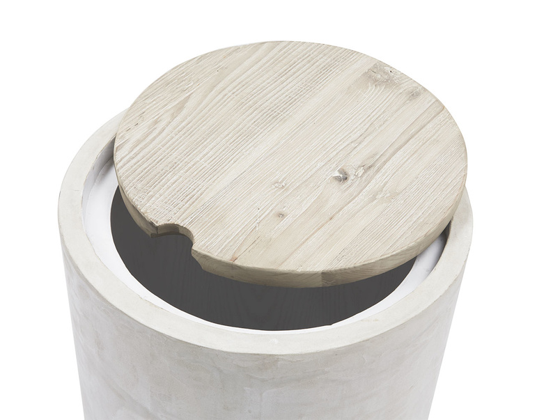 Hidey-Ho concrete wood storage side table