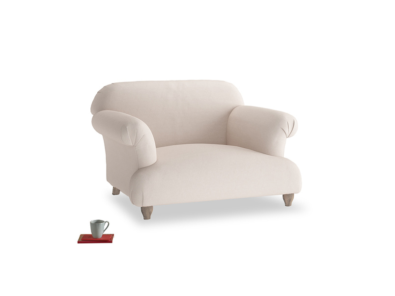 Soufflé Love seat in Faded Pink brushed cotton