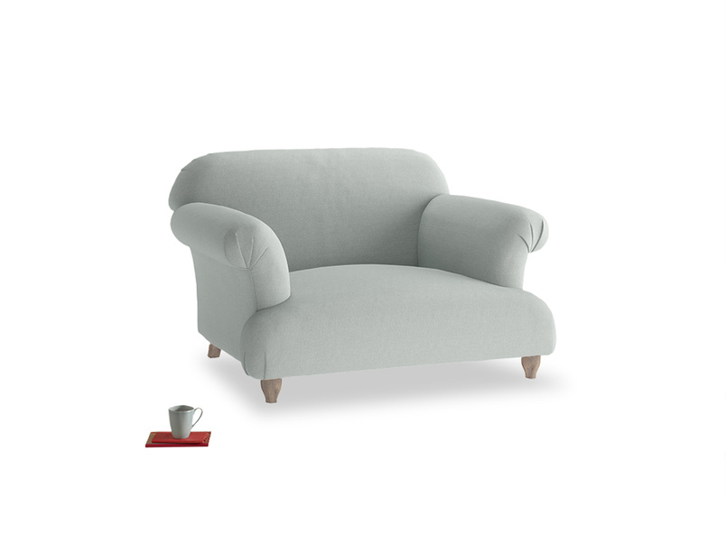 Soufflé Love seat in French blue brushed cotton
