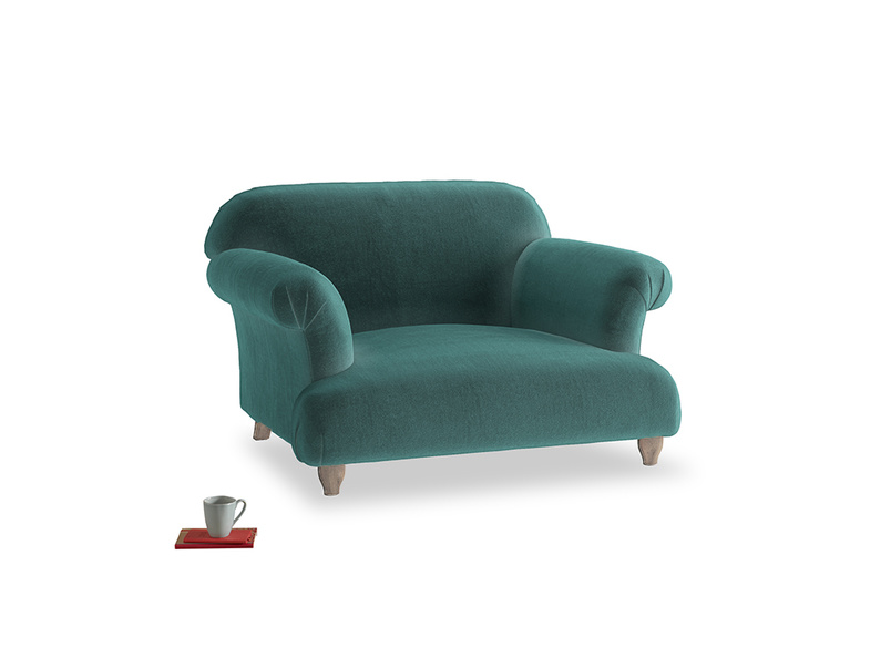 Soufflé Love seat in Real Teal clever velvet