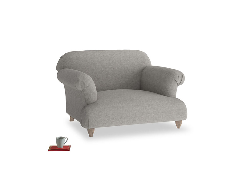 Soufflé Love seat in Marl grey clever woolly fabric