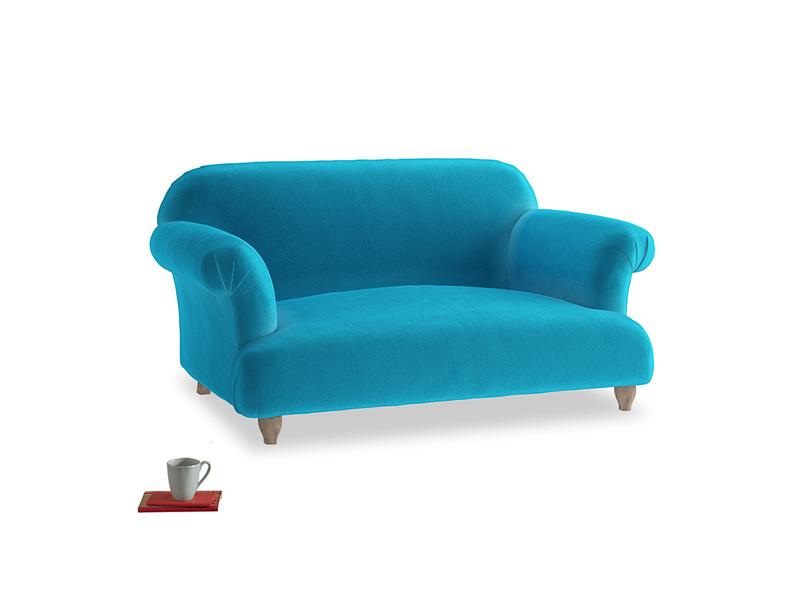 Small Soufflé Sofa in Azure plush velvet