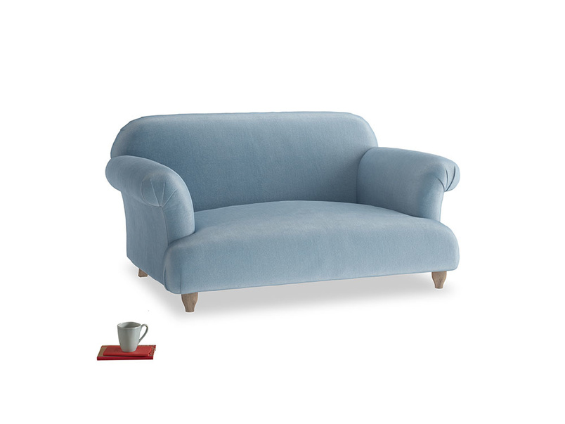 Small Soufflé Sofa in Chalky blue vintage velvet
