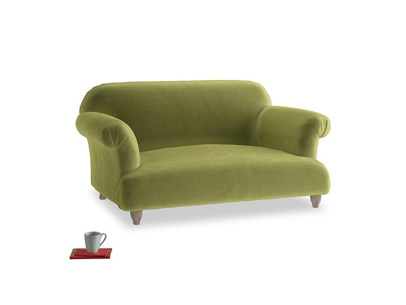 Small Soufflé Sofa in Olive plush velvet