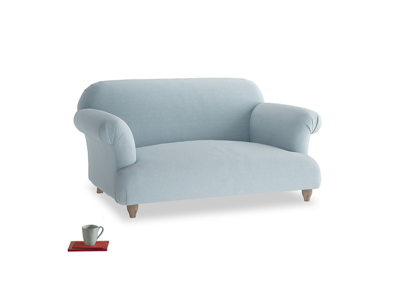 Small Soufflé Sofa in Soothing blue washed cotton linen
