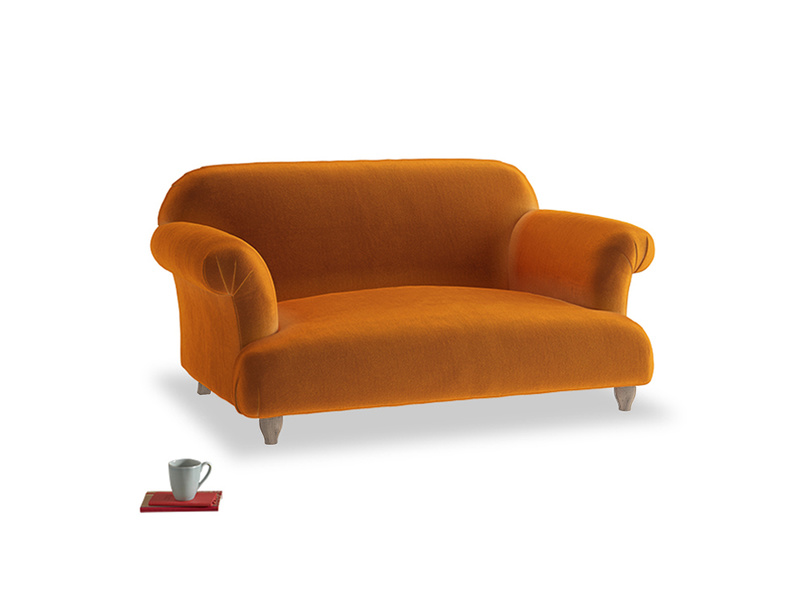 Small Soufflé Sofa in Spiced Orange clever velvet