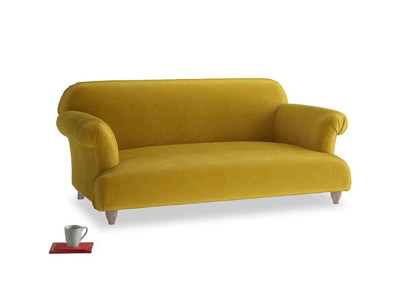 Medium Soufflé Sofa in Burnt yellow vintage velvet