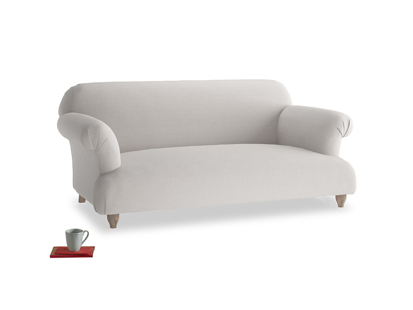 Medium Soufflé Sofa in Lunar Grey washed cotton linen