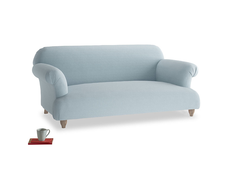 Medium Soufflé Sofa in Soothing blue washed cotton linen