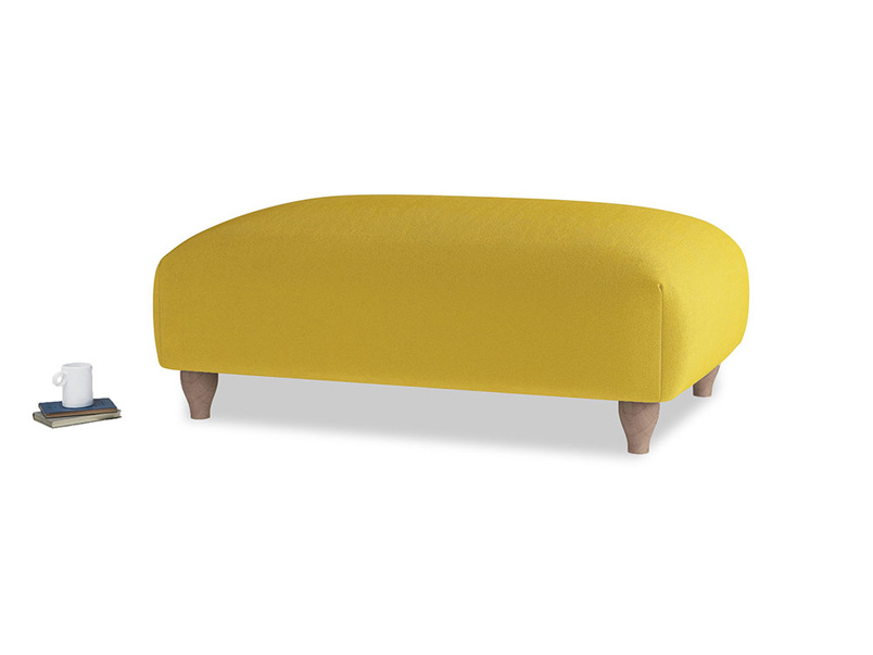 Soufflé Footstool in Bumblebee clever velvet