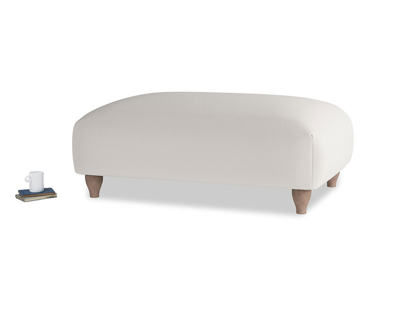 Soufflé Footstool in Chalk clever cotton