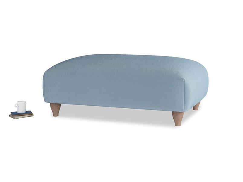 Soufflé Footstool in Chalky blue vintage velvet
