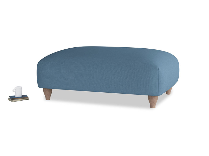 Soufflé Footstool in Easy blue clever linen